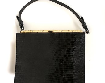 Black Faux Alligator Skin Purse with Attached Coin Purse in Vegan Vinyl Vintage 1960's.