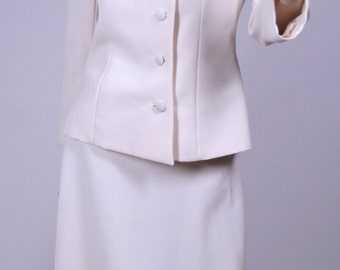 Space Age/Mod/Space Oddessy inspired  Lilli Ann of Paris San Francisco Woman's off white Business Suit 1960's with skirt and jacket