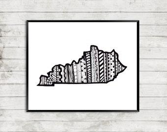 Kentucky Art Print, Kentucky State Art Print, Kentucky Art, Kentucky Zentangle