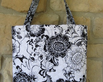 Quilted Double Sided White/Black Tote, Shopping Bag, Cotton, Long Strapes