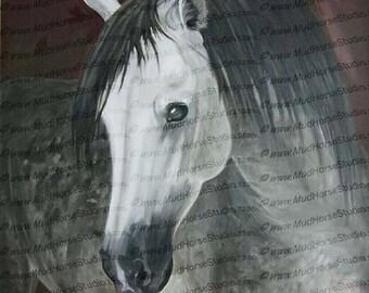 "Dapple grey horse 12"" x 12"" print from original oil painting"