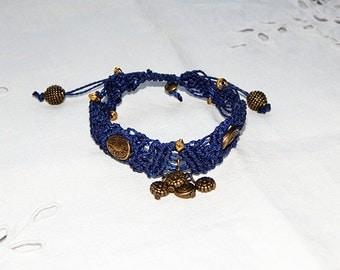 Blue jean macrame bracelet