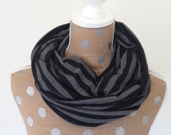 Nursing Cover Scarf Black and Gray -- Breastfeeding Scarf -- Infinity Scarf