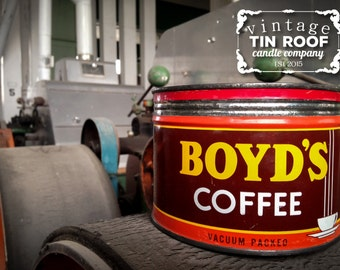 Vintage Boyd's Coffee Tin Roof Soy Candle