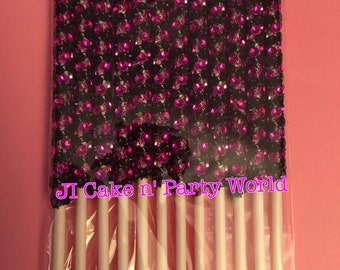 12 Pink and Black Cake Pops Sticks With Bling