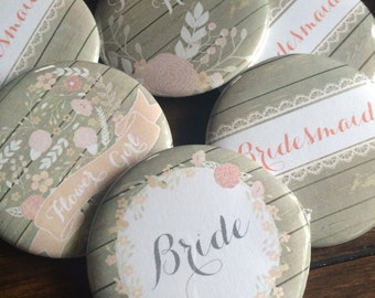 Bridal Party Pins, Wedding Party Pins, Name Tags, Bridal Party, Wedding Party, Badges, Pins, Buttons, Rustic Favor, Bottle Opener, SET of 10