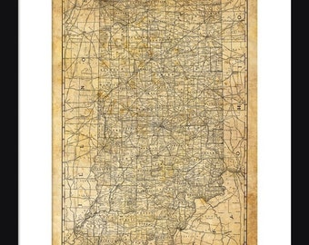 Indiana Map - Print - Poster