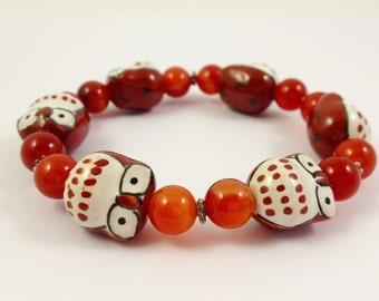 Orange Owl bracelet