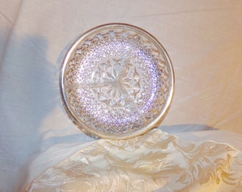 Pressed glass Seperated dish with Silver plate accented lip.