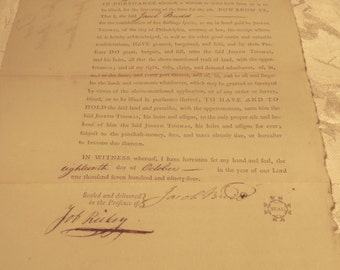 Colonial-America-Land Deed dated-1794-Parchment-Revolutionary