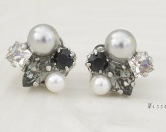 Swarovski Crystal Elements Earrings - Black, White Pearls & Grey Pearl