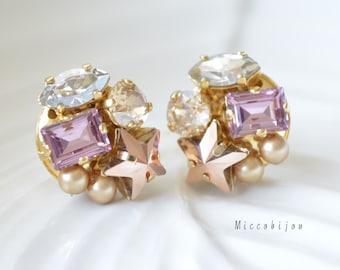 Swarovski elements earrings - Pink