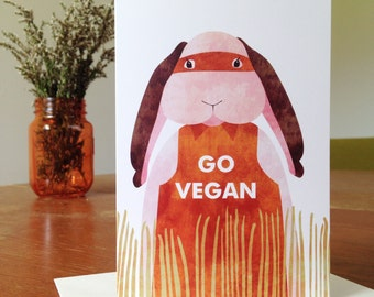 Go Vegan Rabbit // Greeting Card