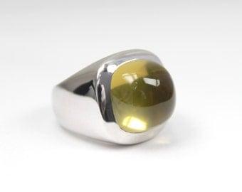 Lemon Quartz Yellow Gemstones natural Cabochon Silver Ring