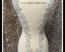 Designer Rhinestone bridal applique, Open back wedding dress applique, Swarovski Shine #0203
