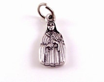 St Therese The Little Flower Silver Bracelet Charm Italian Rosary Parts