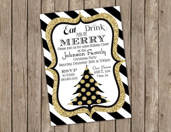 black and gold christmas party invitation