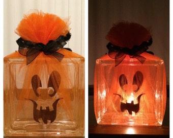 Pumpkin lighted glass block