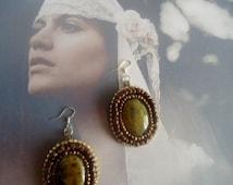 "Agate earrings,dangling earrings,""agate feu earrings,fire agate earrings,embroided earrings"