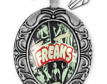 "Retro ""Freaks"" Vintage Freak Show Poster Antique Silver Ornate Glass Oddity Pendant Necklace 167-SOOPN"