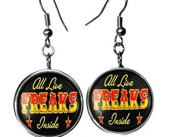 Retro Freak Show Glass Dangle Oddity Sterling Silver Earrings 165-SLRE