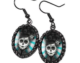 Dia De Los Muertos Sugar Skull Woman Gunmetal Black Glass Earrings 72-GMOE