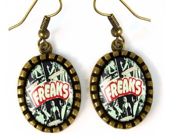 Antique Bronze FREAKS! Retro Freak Show Oval Glass Oddity Earrings 167-BOE