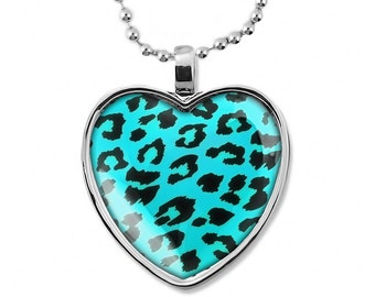 Shiny Silver Turquoise and Black Leopard Animal Print Glass Heart Pendant Necklace 203-SHN