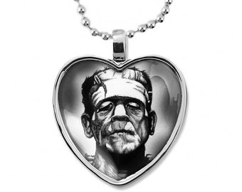 Shiny Silver Gothic Frankenstein Horror Icon Heart Shaped Halloween Pendant Necklace 88-SHN