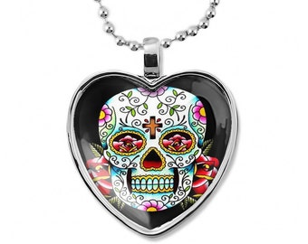 Shiny Silver Day of the Dead Sugar Skull Heart Shaped Pendant Necklace 55-SHN