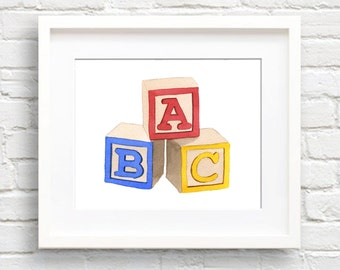 ABC Blocks Art Print - Nursery Wall Decor - Watercolor Painting