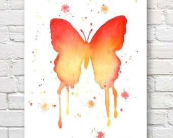 Butterfly Art Print - Wall Decor - Abstract Watercolor Painting