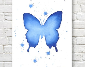 Blue Butterfly Art Print - Wall Decor - Abstract Watercolor Painting