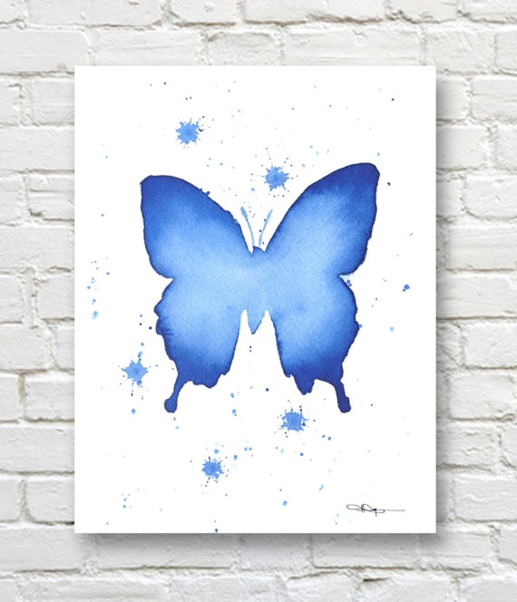 Blue Print Wall Decor : Blue butterfly art print wall decor abstract watercolor