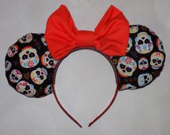 Dia de los Muertos sugar skull Mickey ears headband
