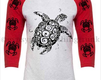 Turtle Shirt Beach Shirt Graphic Style Red and White 3/4 Sleeve Shirt  - Gypsy Clothing - Turtle Clothing - Beach Clothing - Graphic T