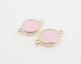 G001121C/Ice Pink/Gold plated over brass/Faceted round glass connector/17mm x 12mm/2pcs