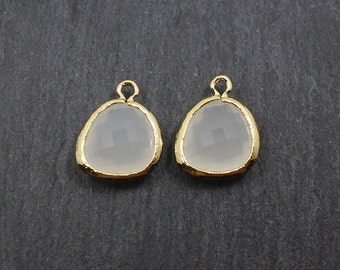 G001021P/white smoke/Gold plated over brass/Asymmetrical framed glass pendant/13mm x 15.8mm/2pcs