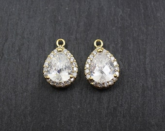 P0156/Anti-Tarnished Gold Plating Over Brass/Cubic Zircon Bezel Setting Drop Pendant/17 x11.5mm/2pcs