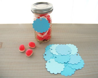 Blue round paper tags - Shades of blue hang-tags - Blue circle paper tags - Pack of 24