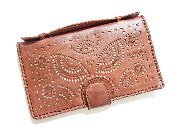 Owl women leather wallet vintage carved ladies by