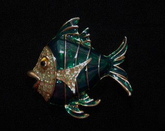 Vintage Enamel and Pave Rhinestone Fish Brooch/Pin