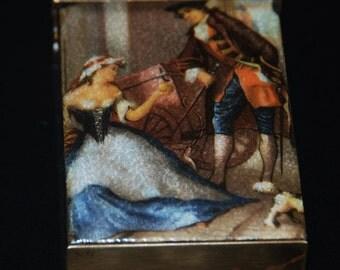 SALE:  Vintage Enamel and Copper Cigarette Pack Holder
