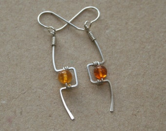 Handmade Sterling Silver Wire Wrapped Earrings With Amber beads