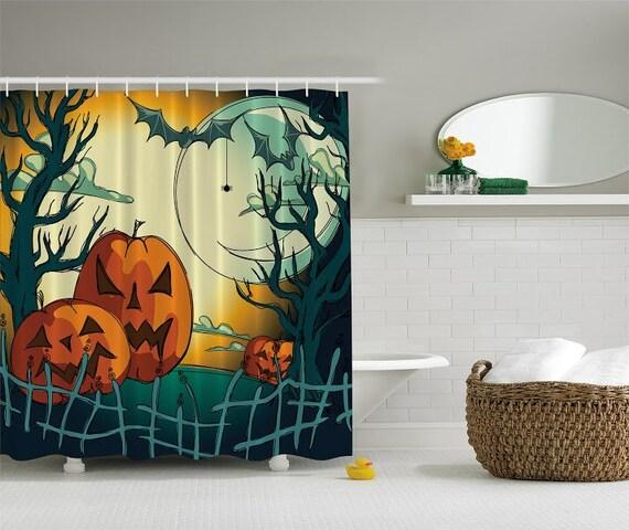 Shower Curtain Jack O Lantern Halloween By Charmingdivaboutique