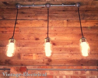 Industrial Kilner mason jam jar wall light by VintageElectrical