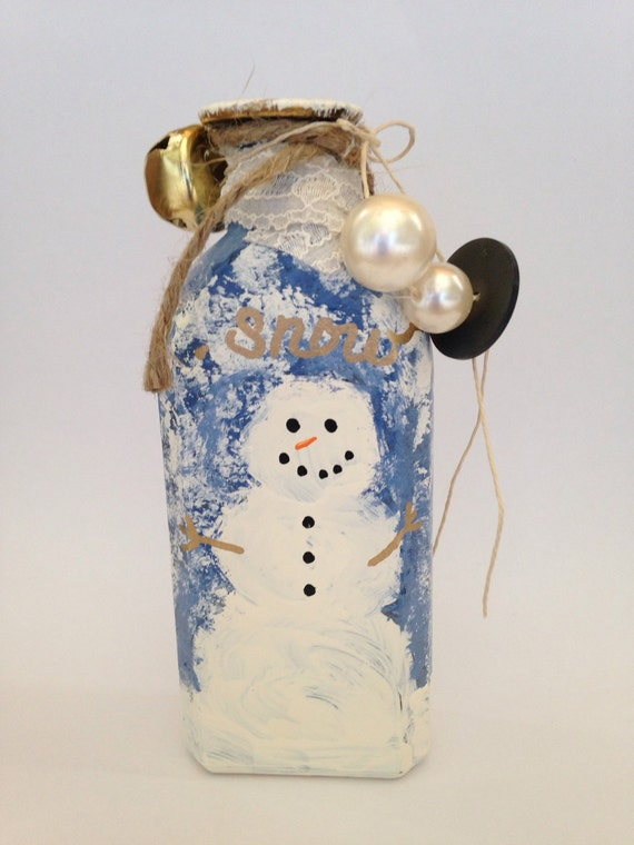Hand Painted Snowman Ornament Altered Art Decor Upcycled