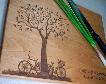 Artistic Tree Cutting Board (T5) Personalized Wedding Cutting Board, Engraved Cutting Board, Custom Cutting Board, Wood Gift