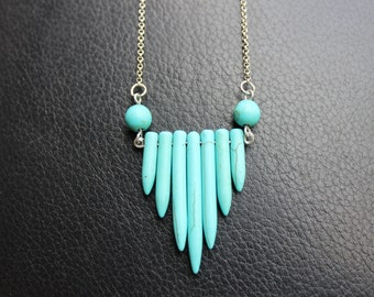 Turquoise Spike Necklace with Silver Chain, Gemstone Necklace