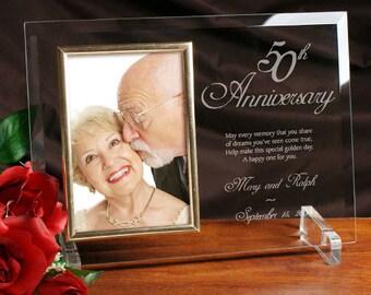 50th Wedding Anniversary Gift Ideas - 8x11 (Holds 4x6 Photo) - Golden Anniversary - 50 Year Anniversary - Parents Golden Wedding Gifts